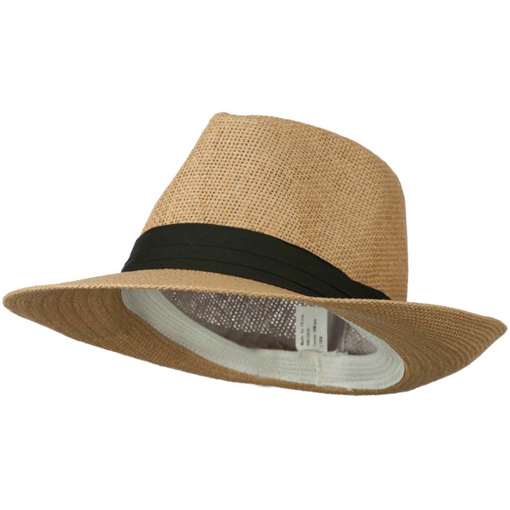 Men's Large Brim Fedora Hat - Tan - Hats and Caps Online Shop - Hip Head Gear