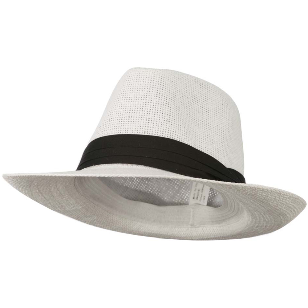 Men's Large Brim Fedora Hat - White - Hats and Caps Online Shop - Hip Head Gear