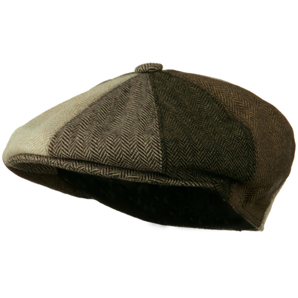 Men's Multi-tone Wool Apple Cap - Brown
