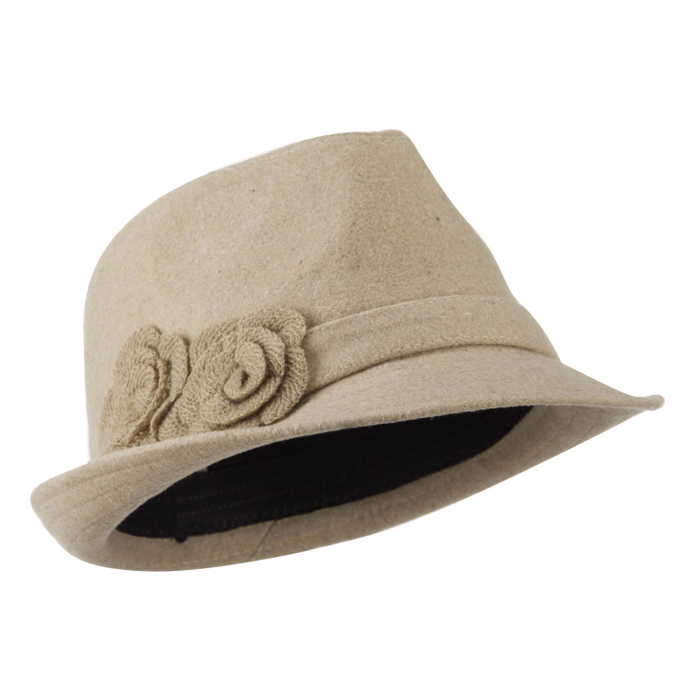 Melton Fedora with Two Flowers - Cream - Hats and Caps Online Shop - Hip Head Gear