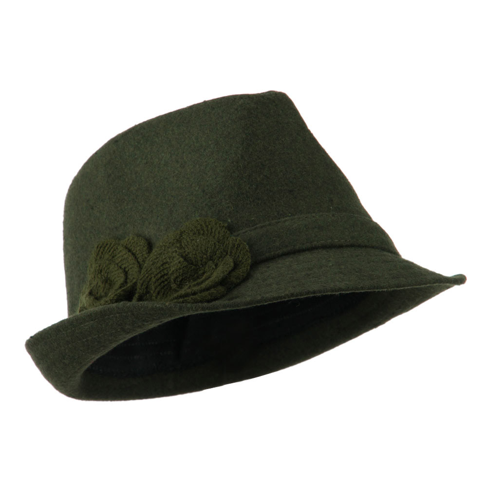 Melton Fedora with Two Flowers - Green - Hats and Caps Online Shop - Hip Head Gear