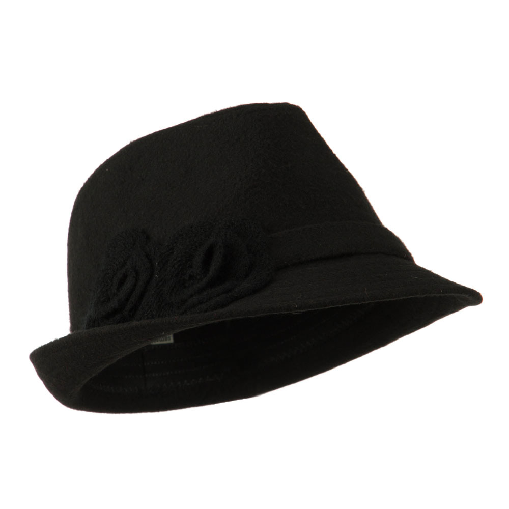 Melton Fedora with Two Flowers - Black - Hats and Caps Online Shop - Hip Head Gear