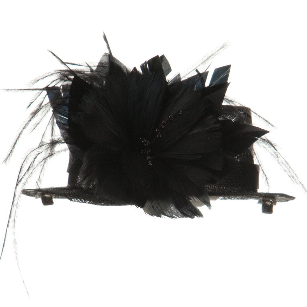 Sinamay Mini Hat with Feather Flower - Black - Hats and Caps Online Shop - Hip Head Gear
