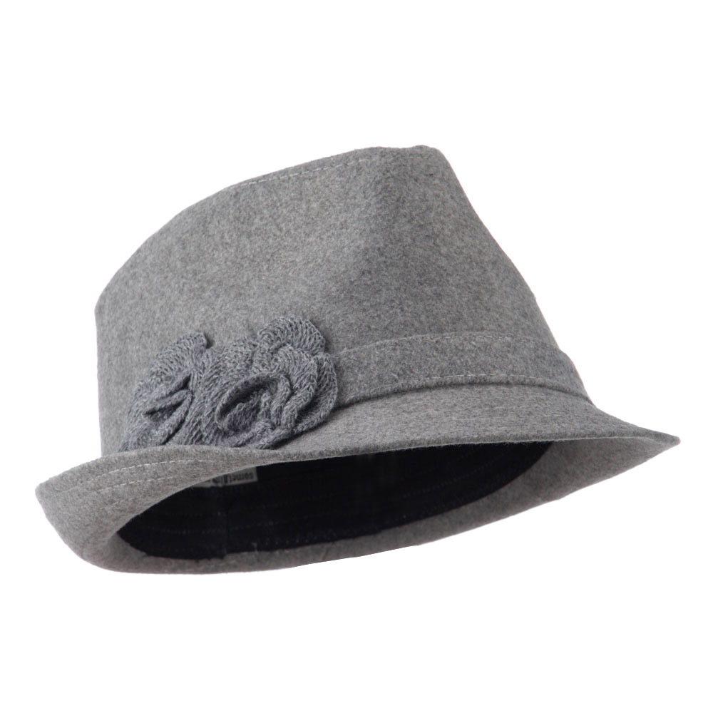 Melton Fedora with Two Flowers - Grey - Hats and Caps Online Shop - Hip Head Gear