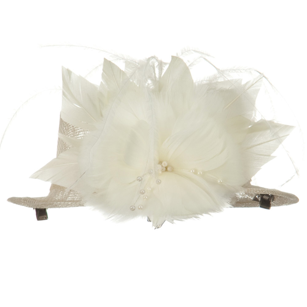Sinamay Mini Hat with Feather Flower - Ivory - Hats and Caps Online Shop - Hip Head Gear