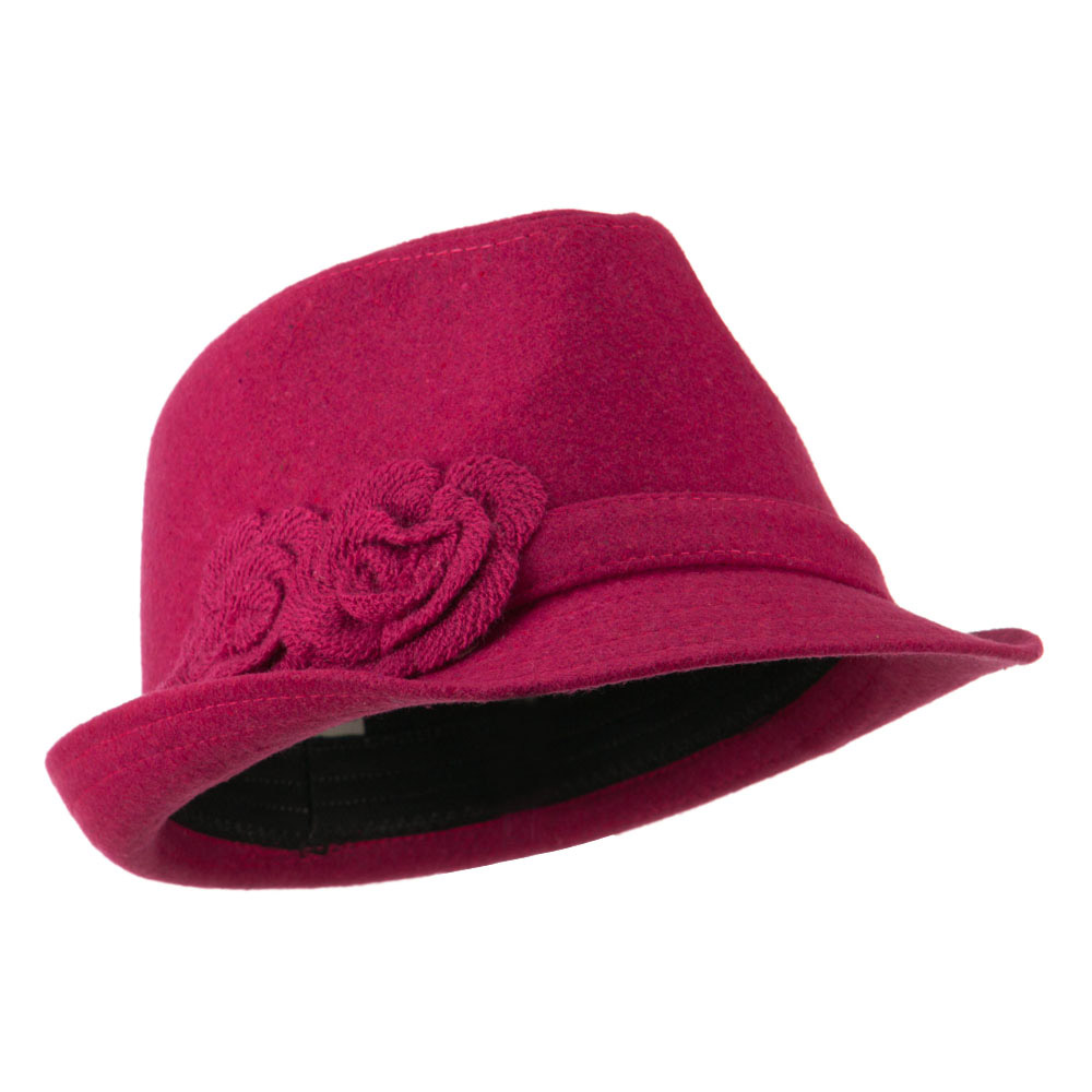 Melton Fedora with Two Flowers - Fuchsia - Hats and Caps Online Shop - Hip Head Gear