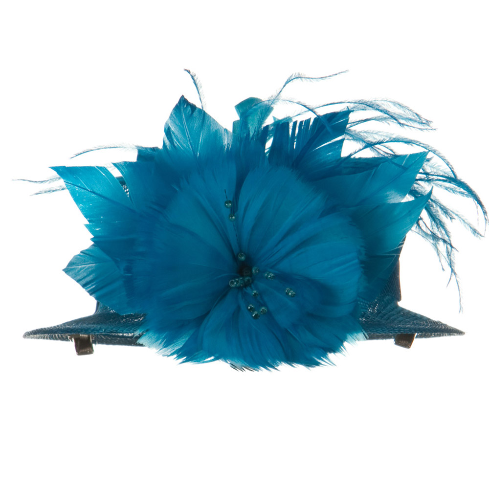 Sinamay Mini Hat with Feather Flower - Blue - Hats and Caps Online Shop - Hip Head Gear