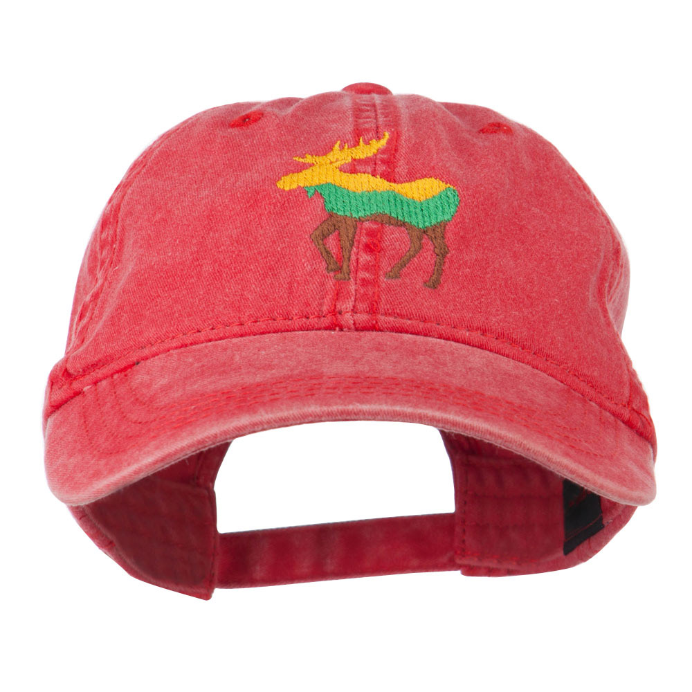 Wildlife Animal Moose Embroidered Cap - Red - Hats and Caps Online Shop - Hip Head Gear