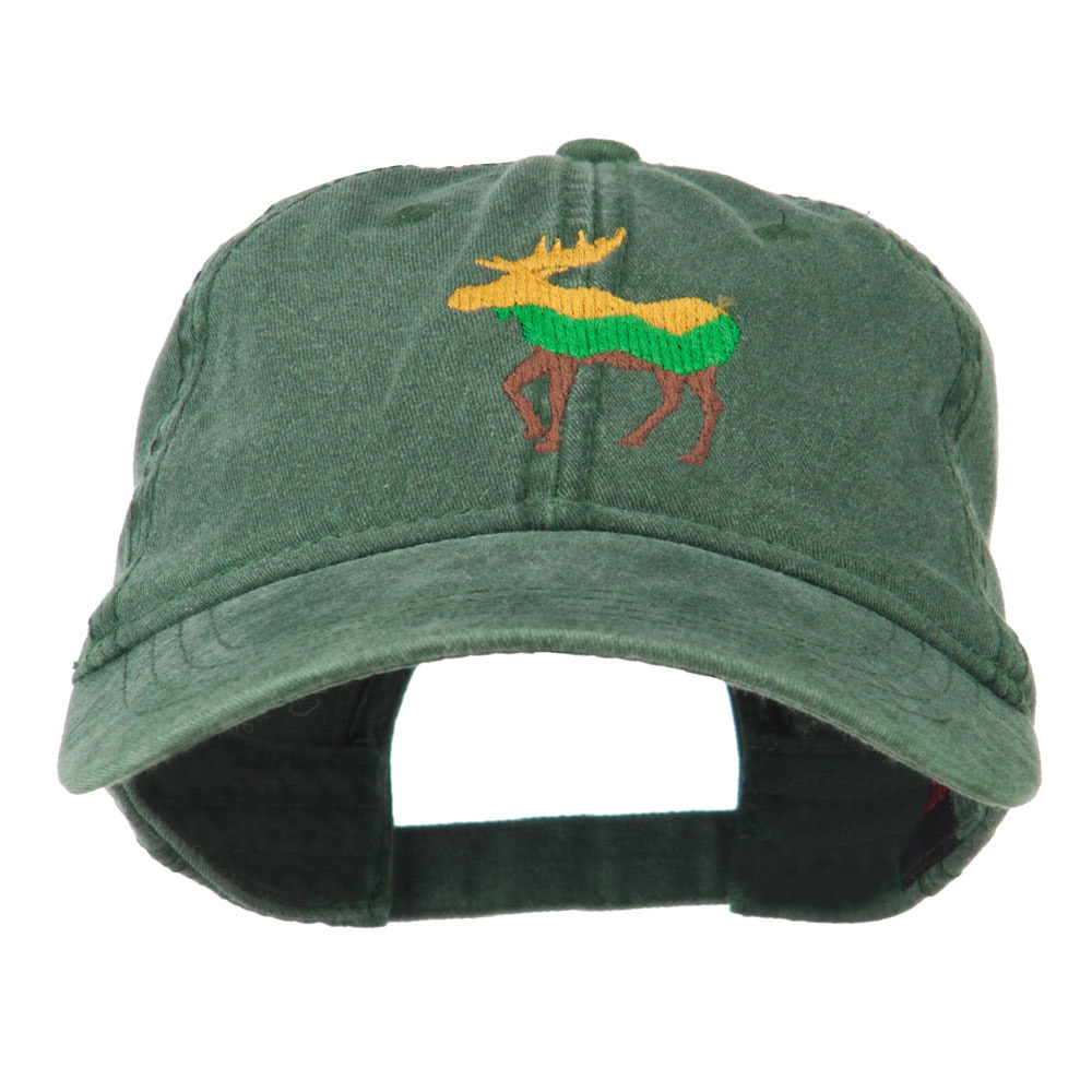 Wildlife Animal Moose Embroidered Cap - Dark Green - Hats and Caps Online Shop - Hip Head Gear
