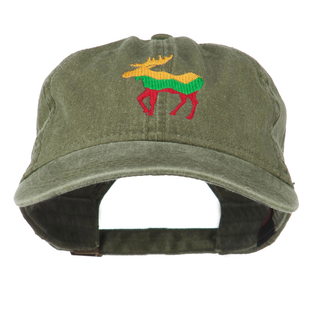Wildlife Animal Moose Embroidered Cap - Olive Green - Hats and Caps Online Shop - Hip Head Gear