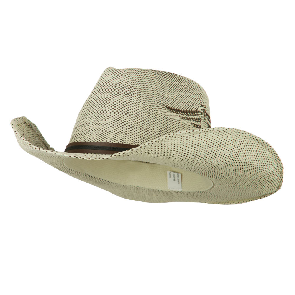 Men's Paper Straw Cowboy Hat with Eagle Design - White Brown - Hats and Caps Online Shop - Hip Head Gear