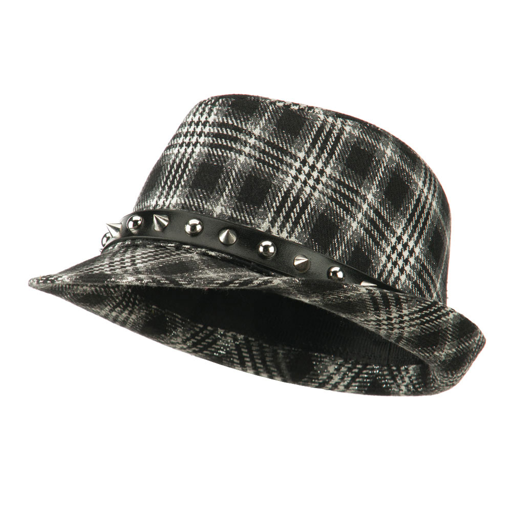 Metallic Plaid Fedora with Spike Stud Band - Black - Hats and Caps Online Shop - Hip Head Gear