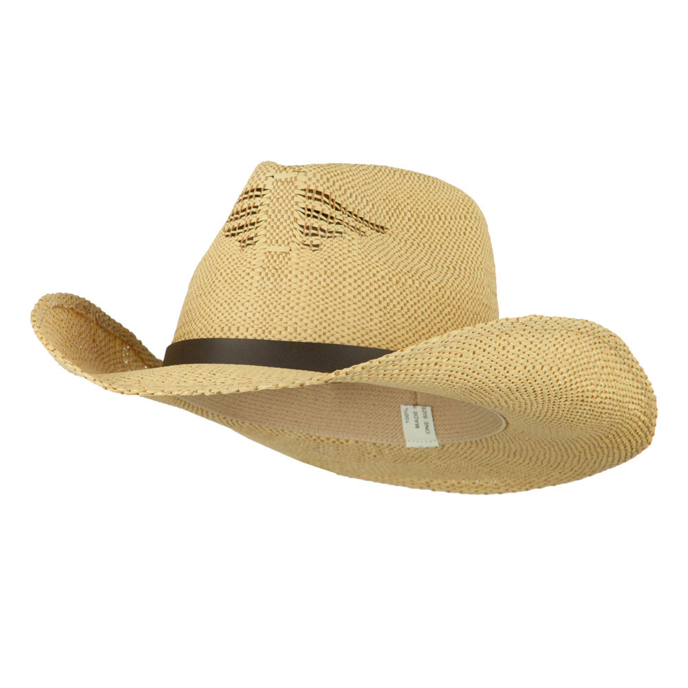 Men's Paper Straw Cowboy Hat with Eagle Design - Beige Tan - Hats and Caps Online Shop - Hip Head Gear