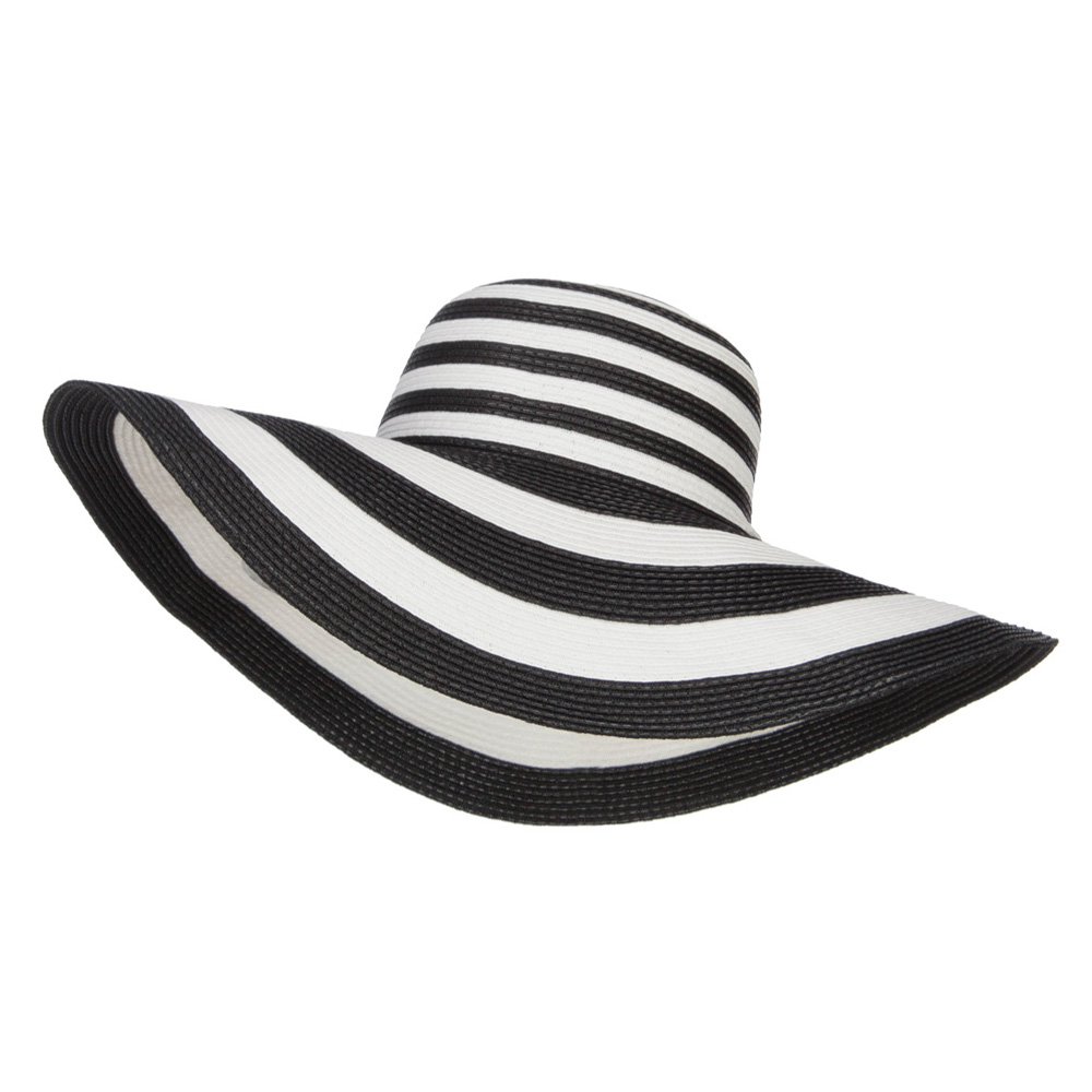 Big Brim Striped Floppy Hat - Black