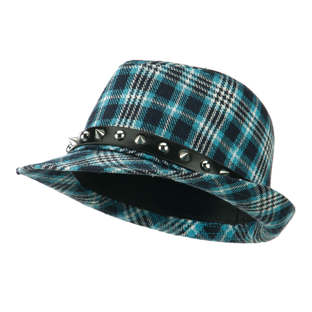 Metallic Plaid Fedora with Spike Stud Band - Blue - Hats and Caps Online Shop - Hip Head Gear