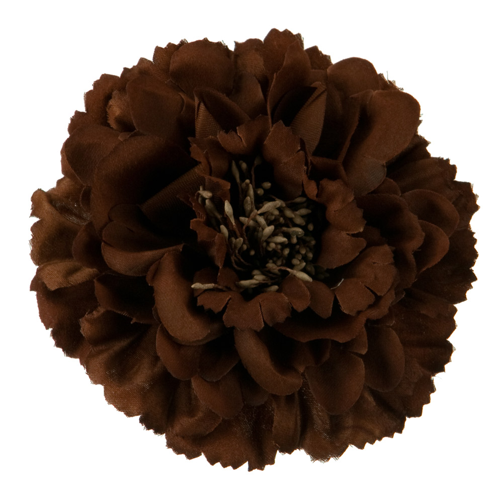 Multi Petal Flower with Pin and Clip - Brown