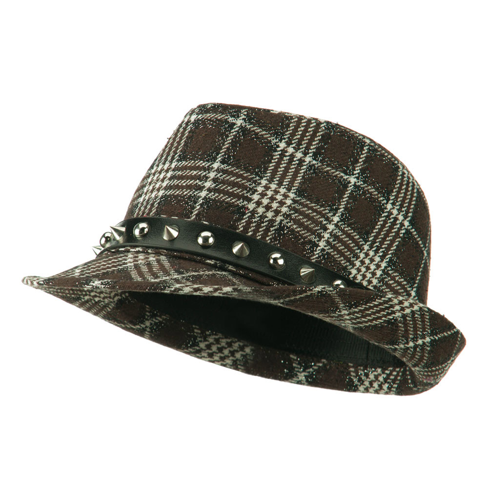 Metallic Plaid Fedora with Spike Stud Band - Brown - Hats and Caps Online Shop - Hip Head Gear