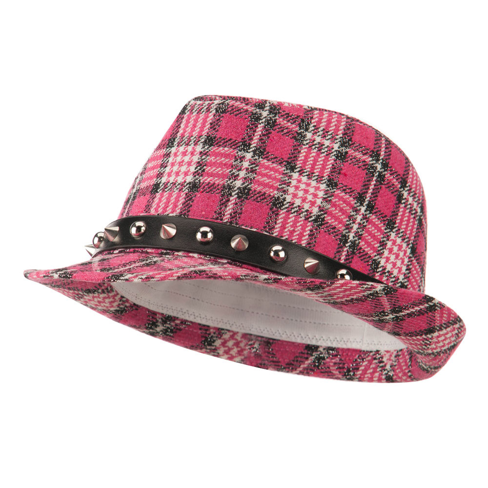Metallic Plaid Fedora with Spike Stud Band - Pink - Hats and Caps Online Shop - Hip Head Gear