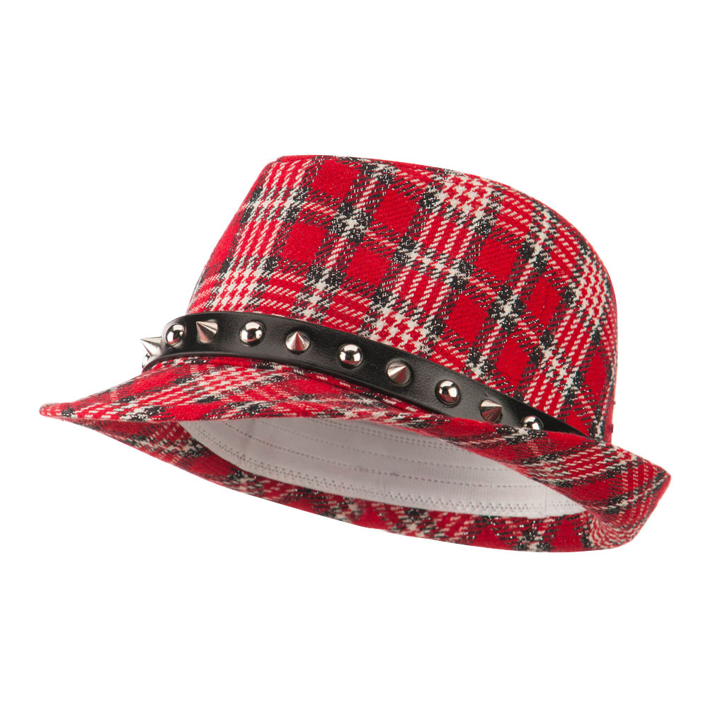 Metallic Plaid Fedora with Spike Stud Band - Red - Hats and Caps Online Shop - Hip Head Gear