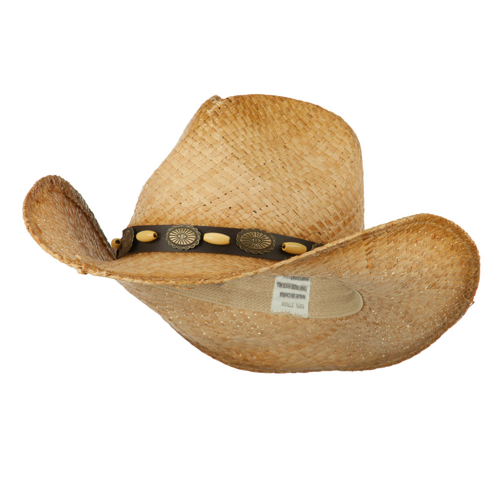 Men's Raffia Straw Cowboy Hat with Tassel Accent - Natural - Hats and Caps Online Shop - Hip Head Gear