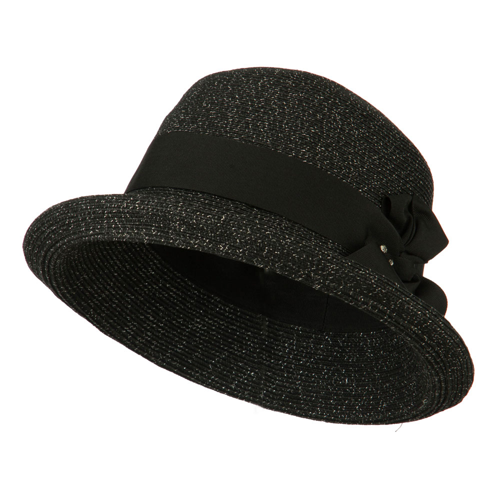 Metallic Half Bow Roll Up Hat - Black - Hats and Caps Online Shop - Hip Head Gear