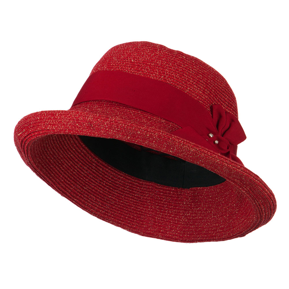 Metallic Half Bow Roll Up Hat - Red - Hats and Caps Online Shop - Hip Head Gear