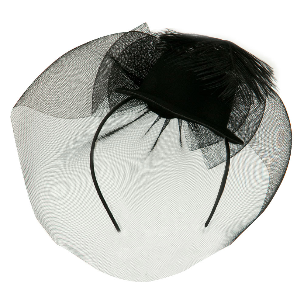 Mini Top Hat with Circle Shaped Netting Fascinator - Black - Hats and Caps Online Shop - Hip Head Gear