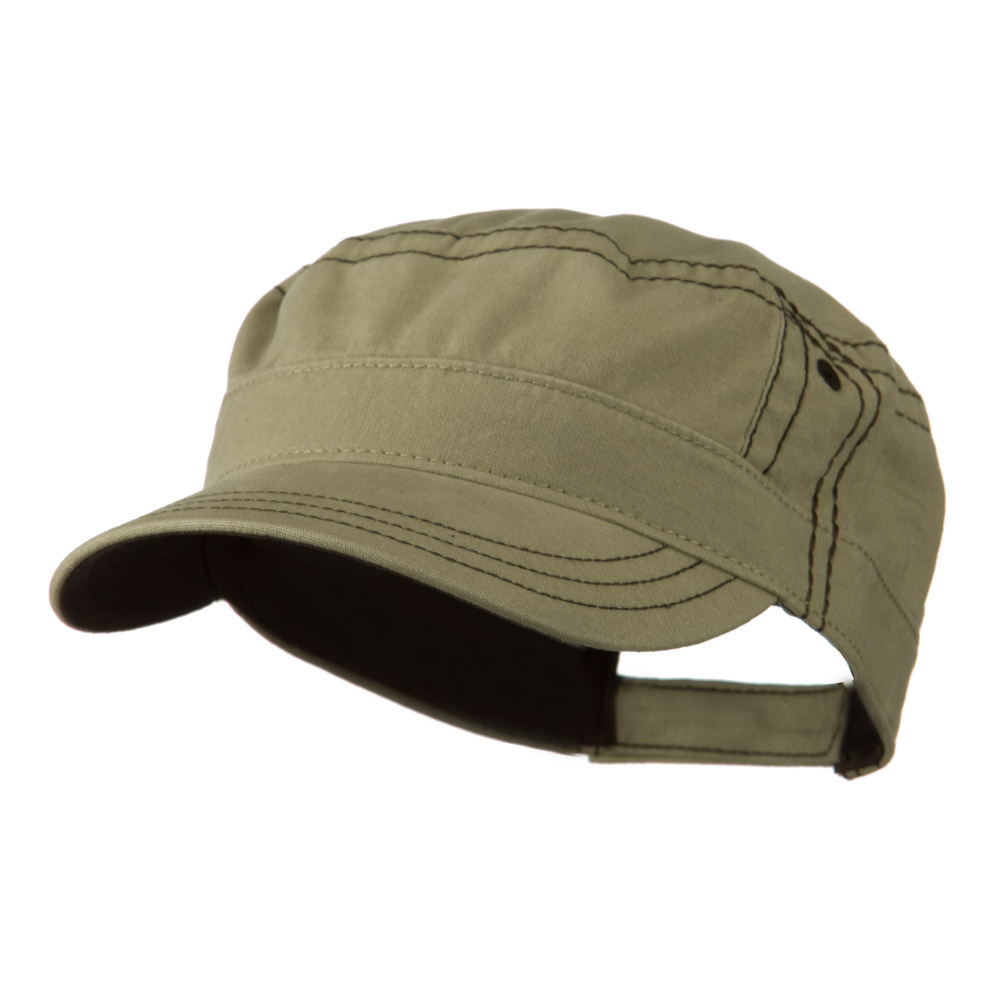 Military Shape Contrast Cap - Khaki Brown - Hats and Caps Online Shop - Hip Head Gear