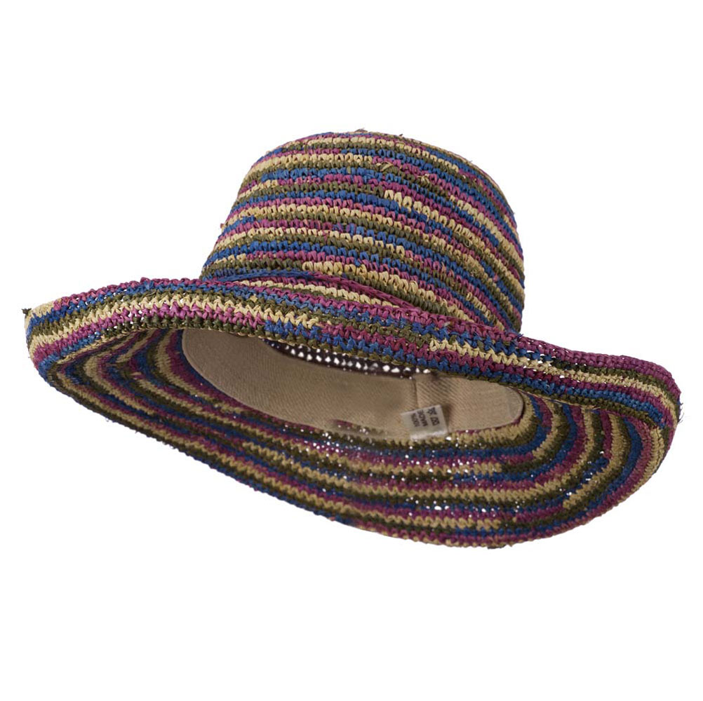 Multi Striped Crocheted Kettle Brim Hat - Bright Multi - Hats and Caps Online Shop - Hip Head Gear