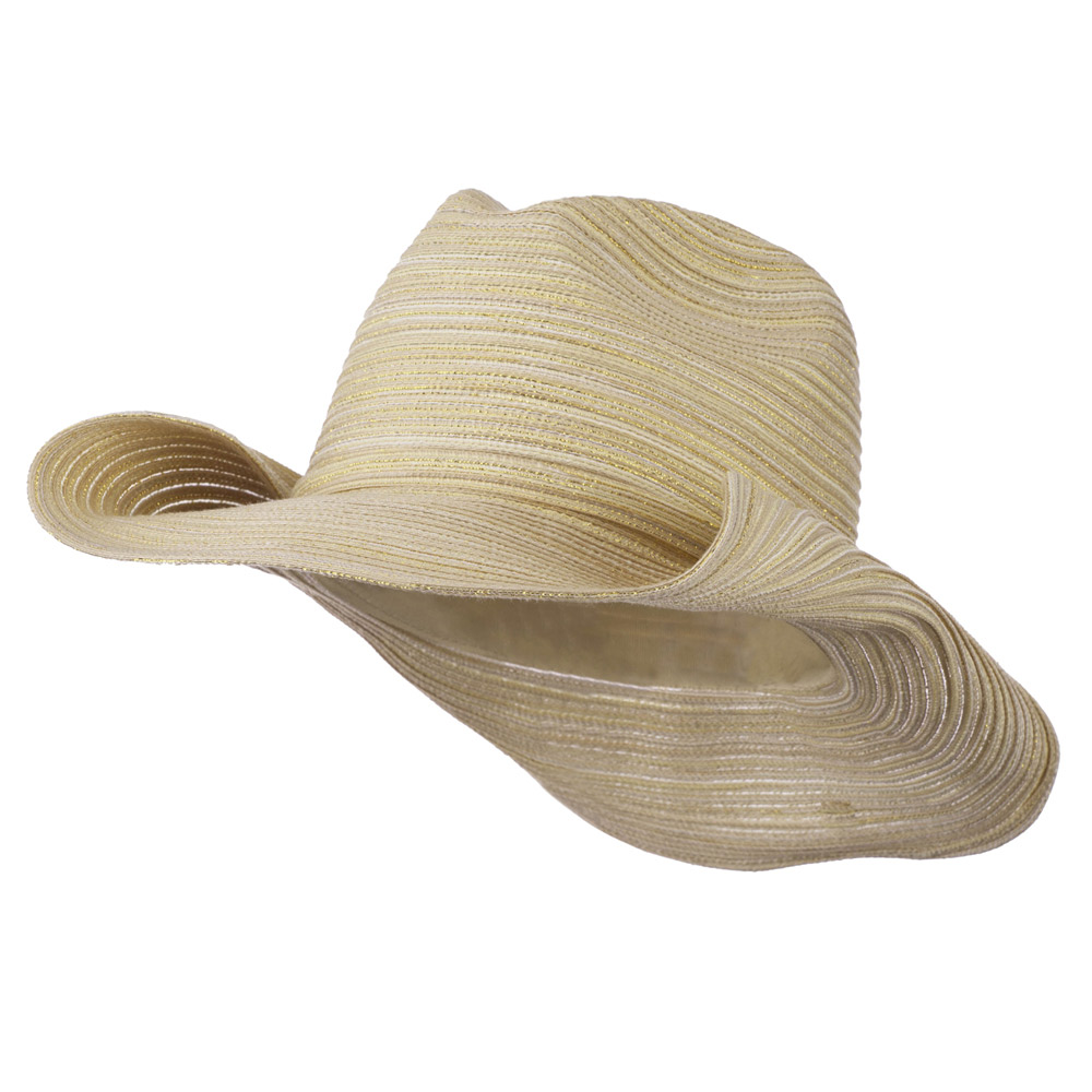 Metallic Self Tie Band Cowboy Hat - Natural - Hats and Caps Online Shop - Hip Head Gear