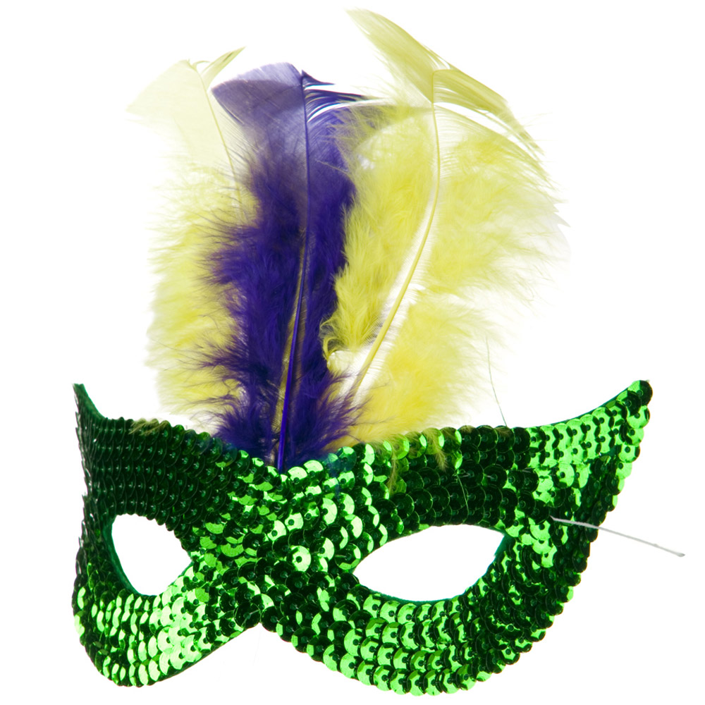 Mardi Gras Sequin Mask - Green - Hats and Caps Online Shop - Hip Head Gear