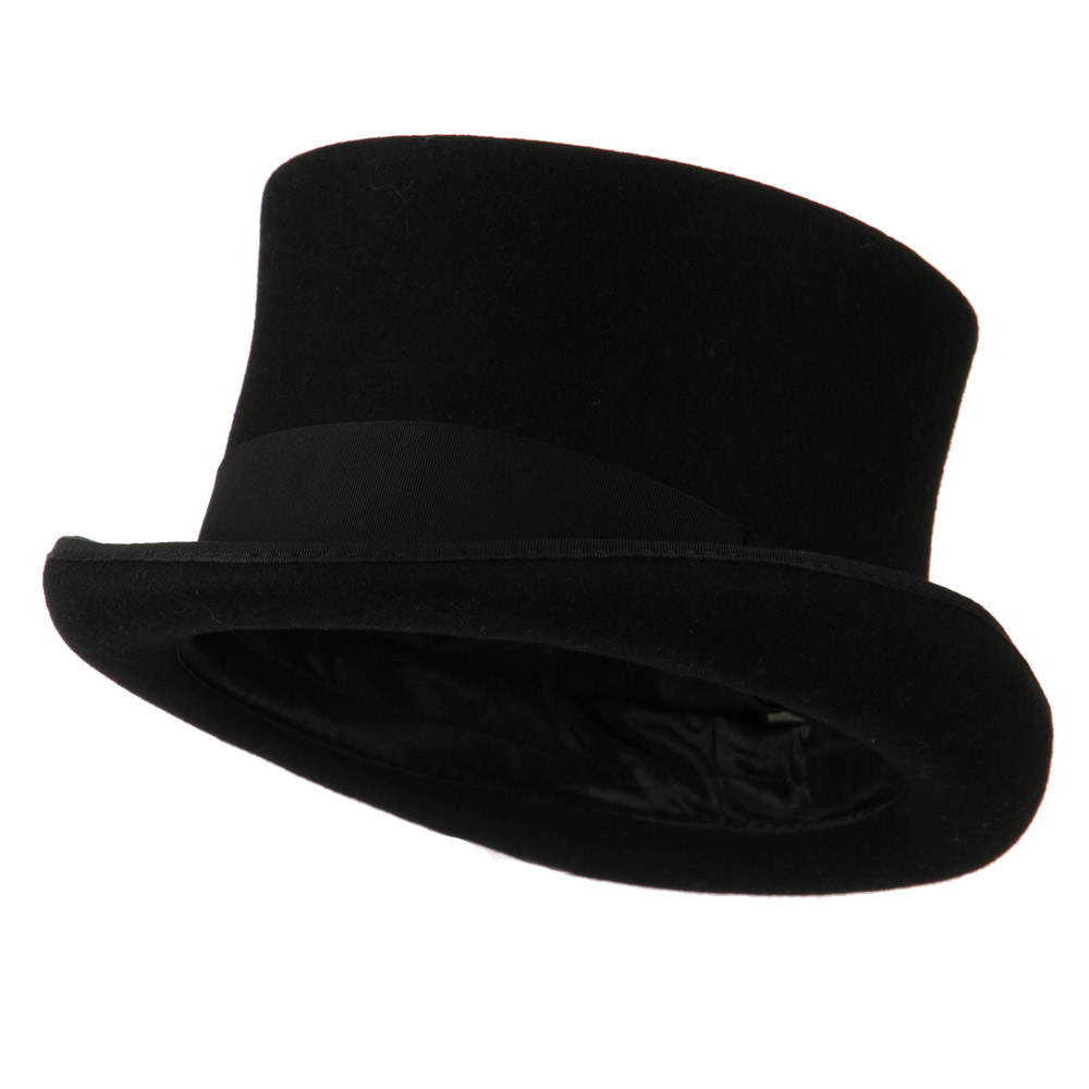 Men's 12 Centimeter Tall Crown Felt Top Hat - Black - Hats and Caps Online Shop - Hip Head Gear
