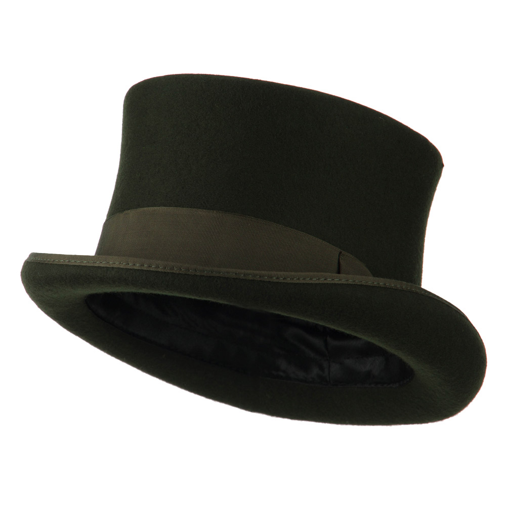 Men's 12 Centimeter Tall Crown Felt Top Hat - Green - Hats and Caps Online Shop - Hip Head Gear
