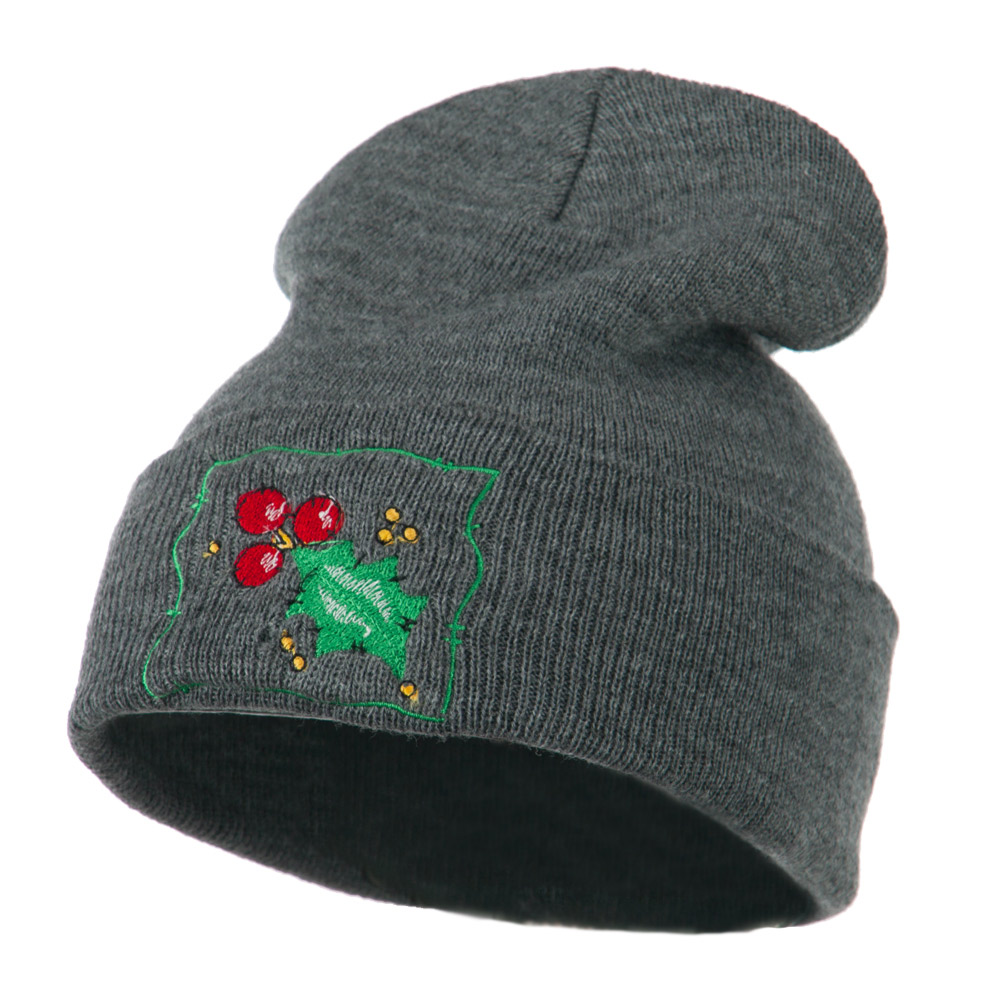 Christmas Mistletoe with Frame Embroidered Beanie - Grey - Hats and Caps Online Shop - Hip Head Gear