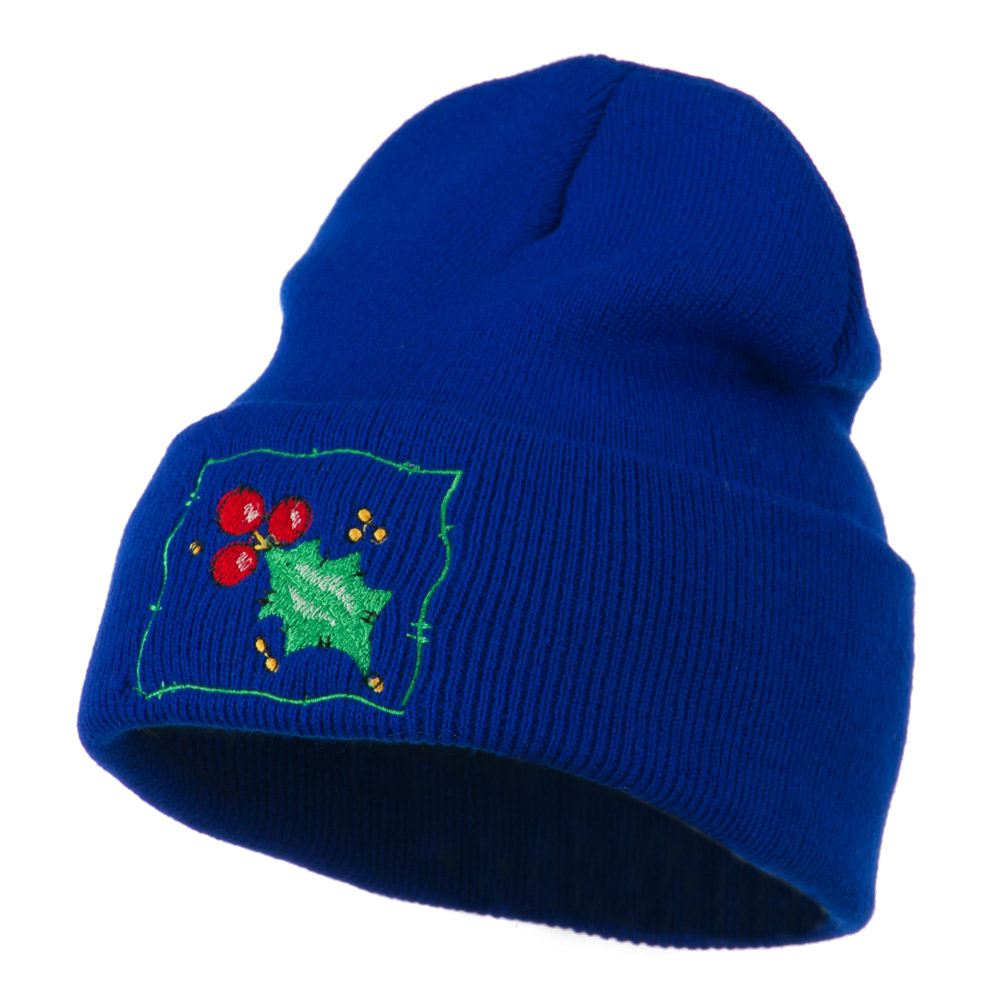 Christmas Mistletoe with Frame Embroidered Beanie - Royal - Hats and Caps Online Shop - Hip Head Gear