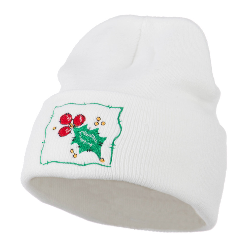 Christmas Mistletoe with Frame Embroidered Beanie - White - Hats and Caps Online Shop - Hip Head Gear
