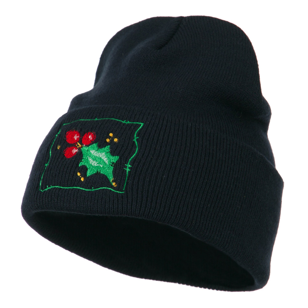 Christmas Mistletoe with Frame Embroidered Beanie - Navy - Hats and Caps Online Shop - Hip Head Gear