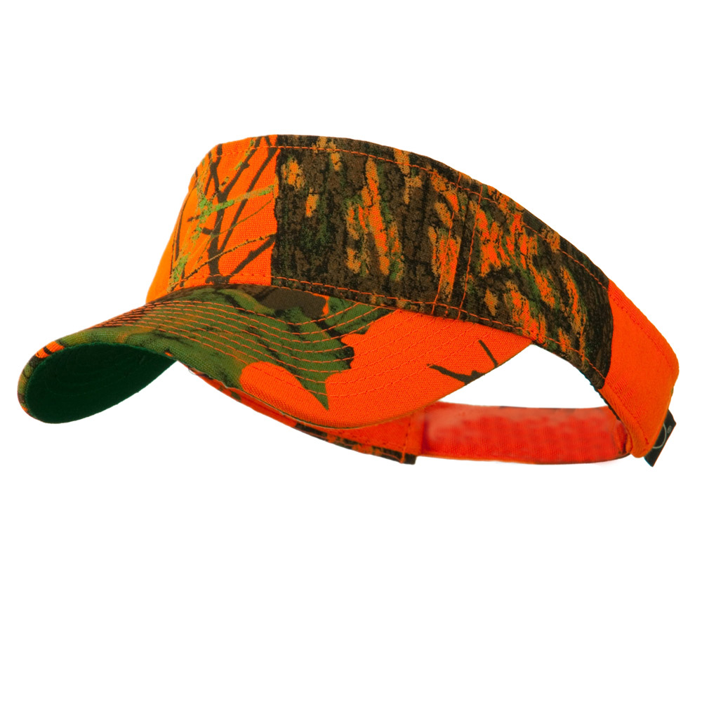 Garment Washed Camo Visor - Mossy Oak Blaze Orange - Hats and Caps Online Shop - Hip Head Gear
