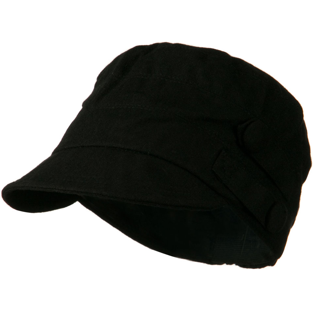 Army Cadet Military Cap with Buttons - Black - Hats and Caps Online Shop - Hip Head Gear