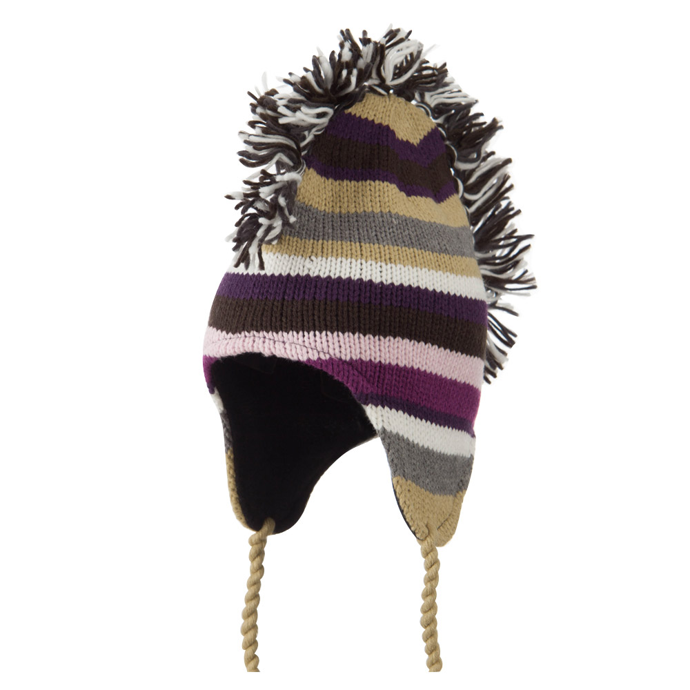 Mohawk Striped Fleece Lined Ski Beanie - Purple - Hats and Caps Online Shop - Hip Head Gear