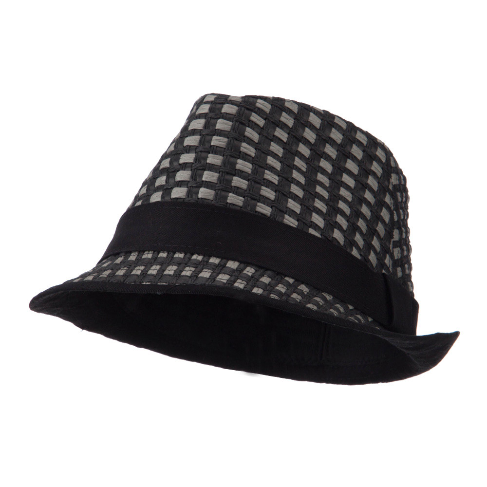 Multi Woven Paper Straw Fedora - Black - Hats and Caps Online Shop - Hip Head Gear