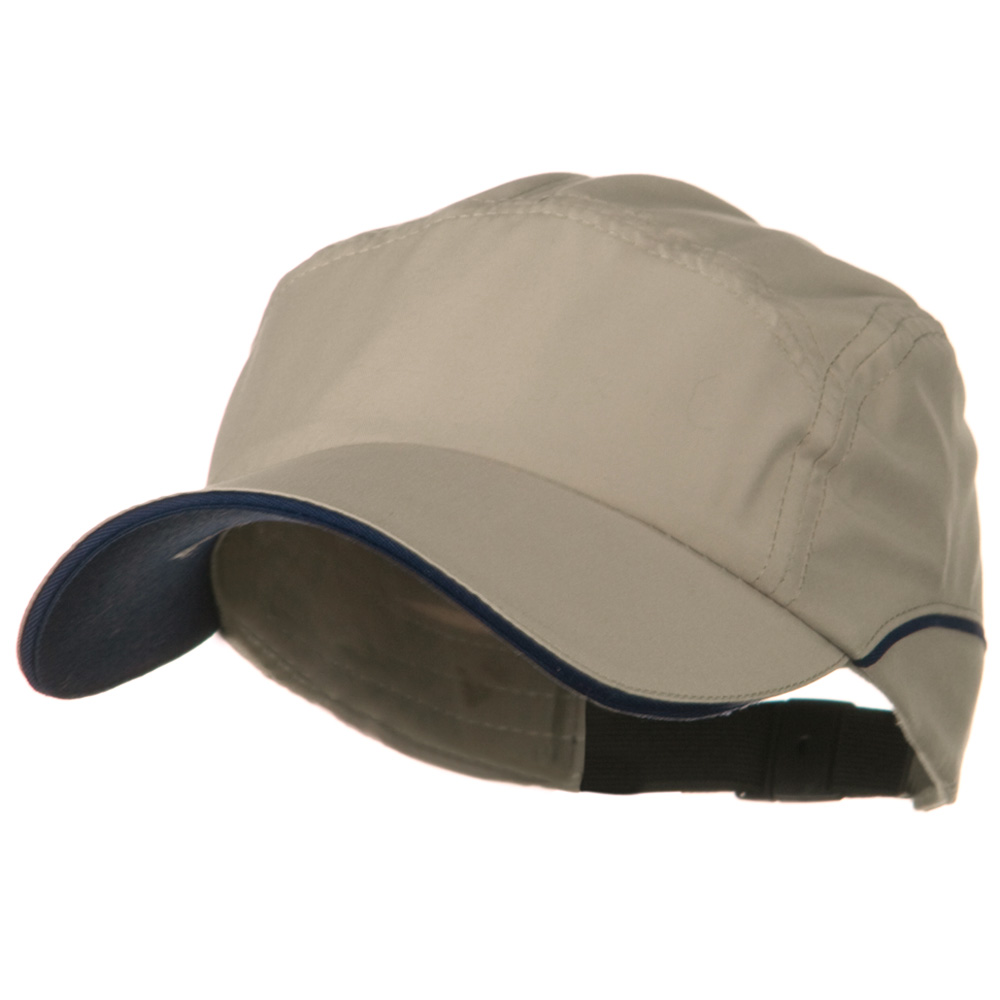 5 Panel Microfiber Water Repellent Cap - Khaki Navy - Hats and Caps Online Shop - Hip Head Gear