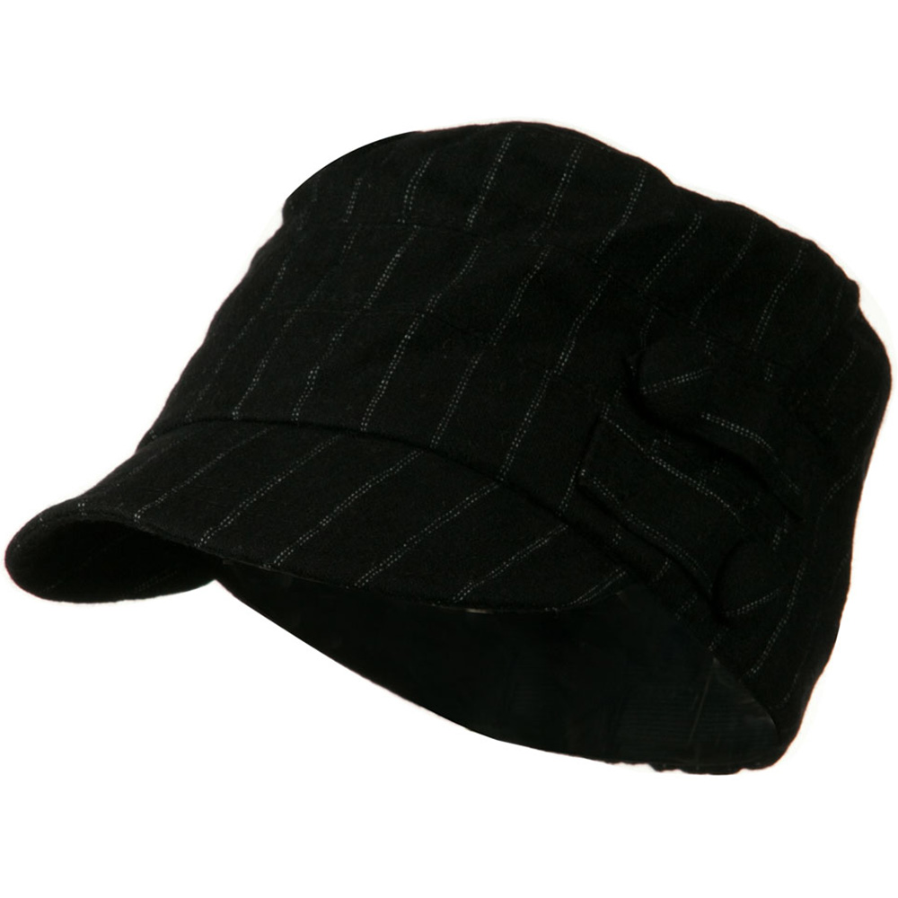 Army Cadet Military Cap with Buttons - Black Pin Stripe - Hats and Caps Online Shop - Hip Head Gear
