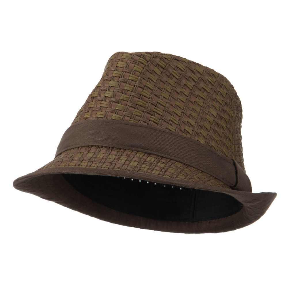 Multi Woven Paper Straw Fedora - Brown - Hats and Caps Online Shop - Hip Head Gear