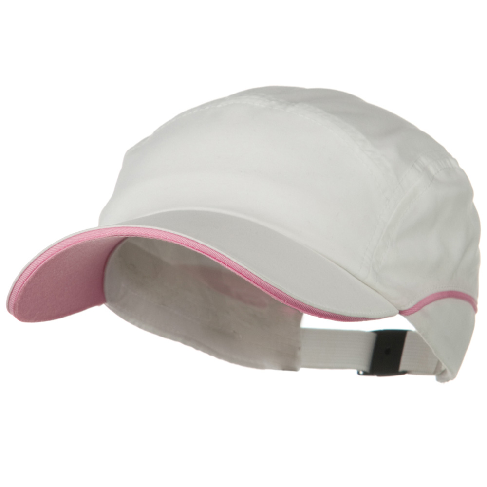 5 Panel Microfiber Water Repellent Cap - White Pink - Hats and Caps Online Shop - Hip Head Gear