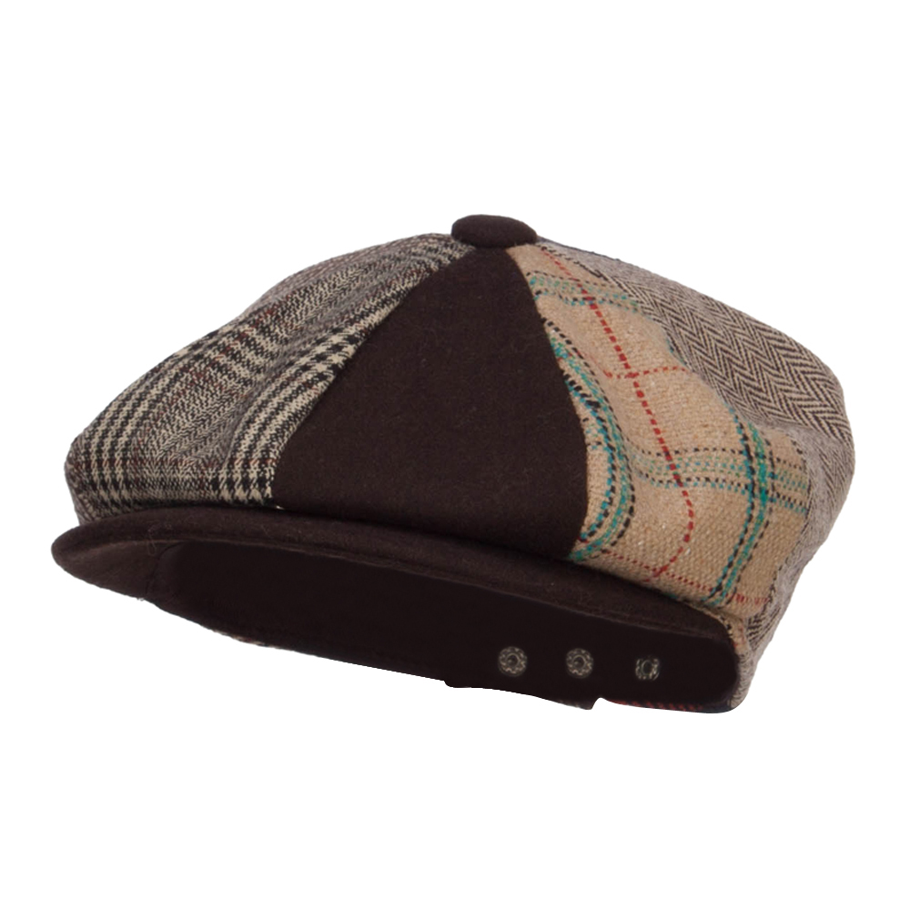 Men's Mix Patchwork Wool 8 Panel Newsboy - Brown