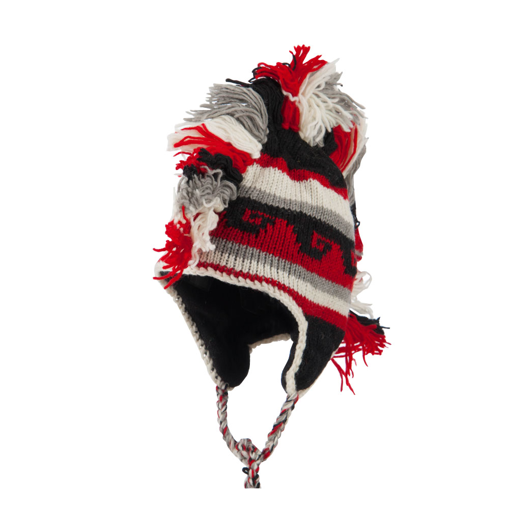 Mexican Pattern Mohawk Ski Beanie - Red - Hats and Caps Online Shop - Hip Head Gear