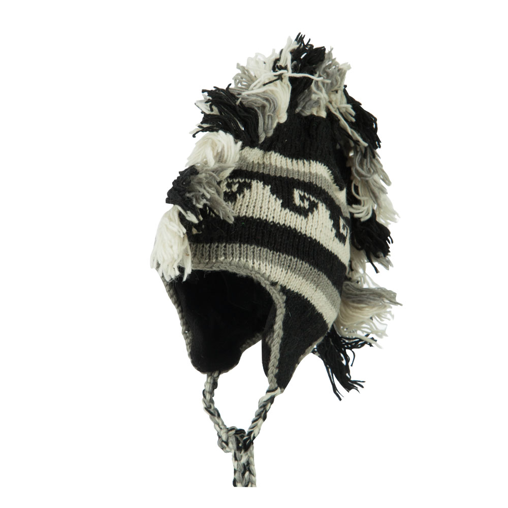 Mexican Pattern Mohawk Ski Beanie - Black - Hats and Caps Online Shop - Hip Head Gear