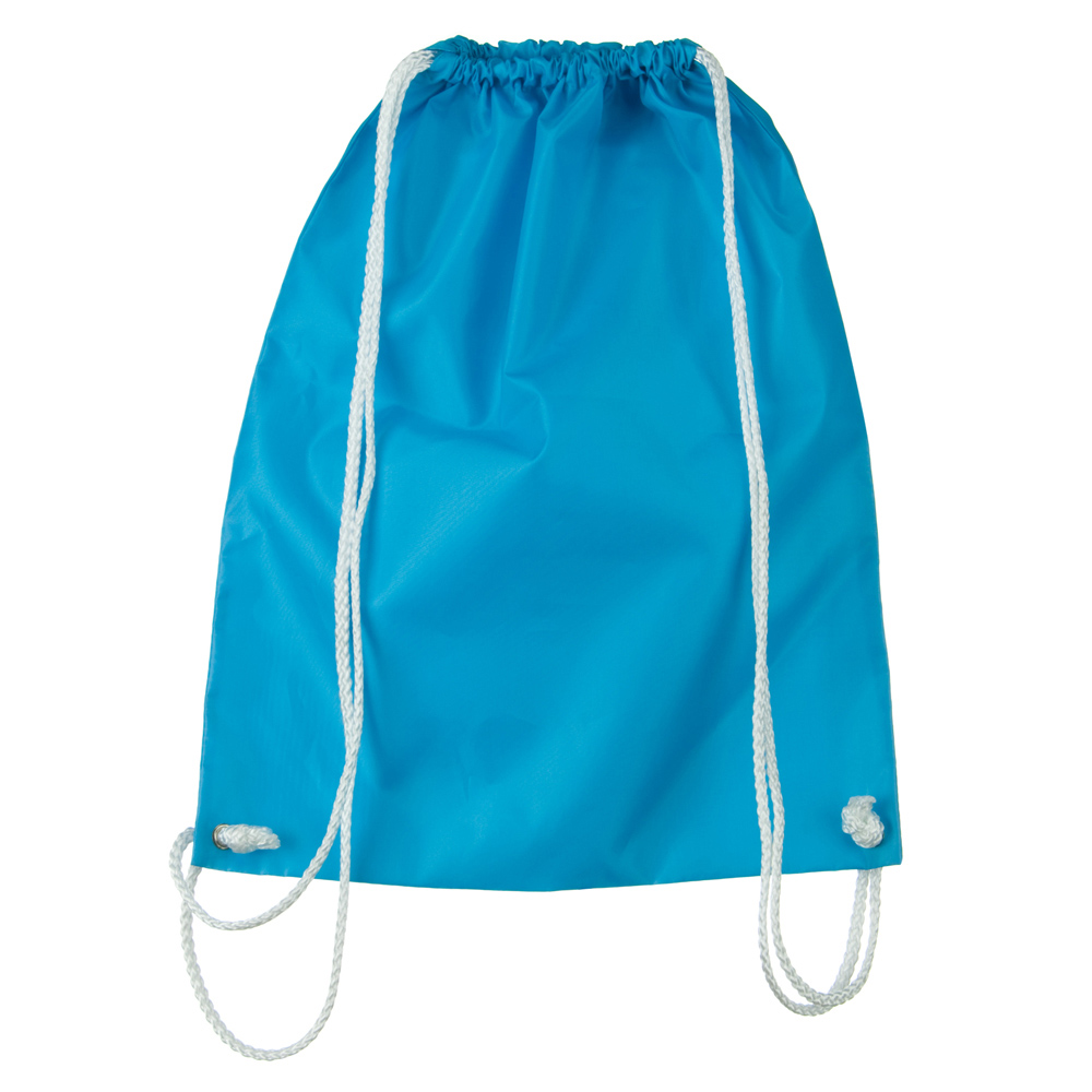 Nylon Drawstring Solid Color Backpack - Turquoise