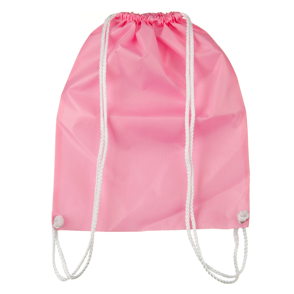 Nylon Drawstring Solid Color Backpack - Pink
